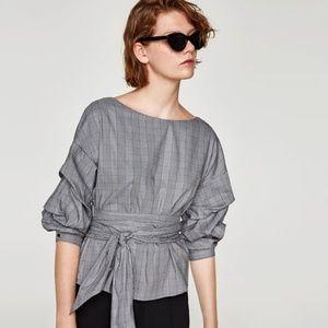 Zara Tops - NWT Zara Size S Plaid Ruched Wrap Blouse